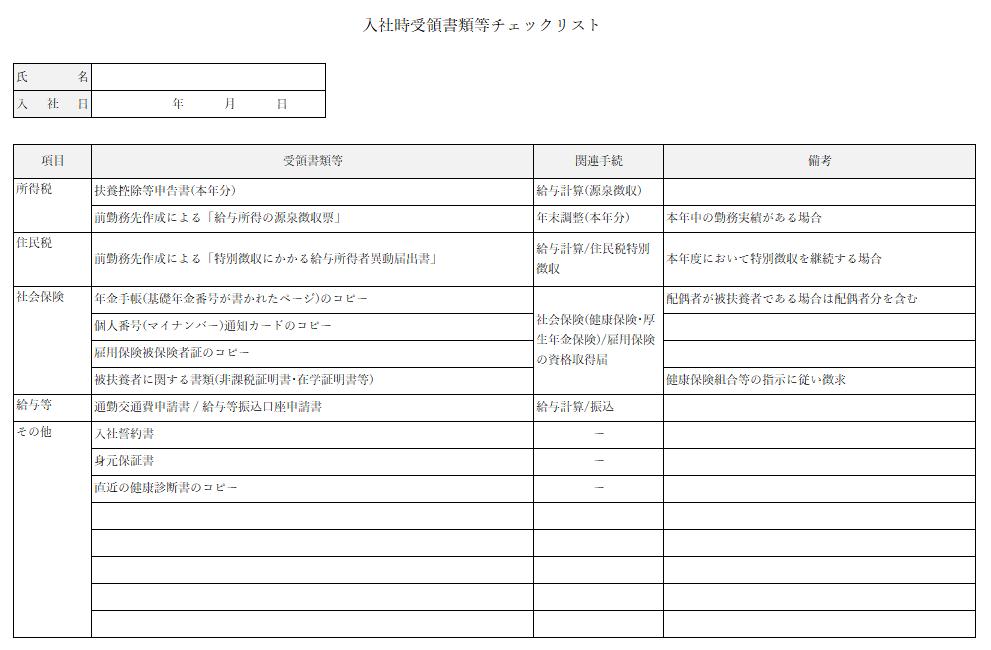 新入社員の入社手続きに必要となる書類等チェックリスト.png